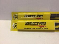 Pair2 Windshield Wiper Blades J-hook Only Service Pro 24and 20 Inch All Season
