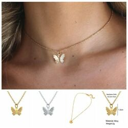Fashion Chain Jewelry Accessories Simple Butterfly Choker Necklace Silver Gold
