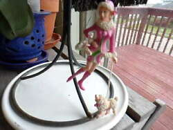 PRE-OWNED CHRISTMAS TREE DECORATION GIRL WITH POODLE ON LEASH