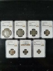 1927 Great Britain Silver Proof Set Crown Thru 3 Pence Ngc Graded Pf60 - Pf65