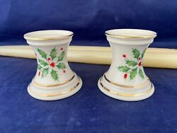 Pair Of Lenox Holiday Fine China Candle Holders And Lenox 15 Taper Candles