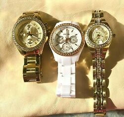 300 Working Fossil And Relic Womens Watch And Ring Lot
