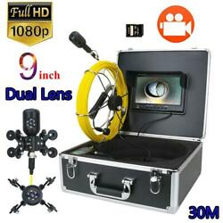 9 Inch Dvr Pipe Inspection Video Camera Sewer Pipeline 1080p Dual Lens Endoscope