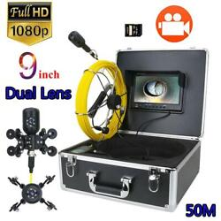 Dvr Pipe Inspection Video Camera 50m 2mp Dual Len Drain Sewer Pipeline Endoscope