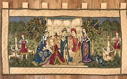 Religious Scene Antique French European Tapestry Large Wall Hanging 54w X 28 H