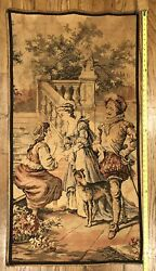 Royal Scene Antique French European Tapestry Large Wall Hanging 26 W X 50 H