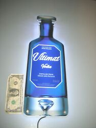 Ultimat Patron Vodka Poland Blue Lighted Wall Mounted Hanging Bar Sign Works
