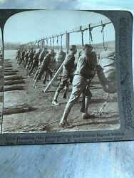 Antique Stereoview Card Photo Ww1 American Army Camp 23rd Division Bayonets