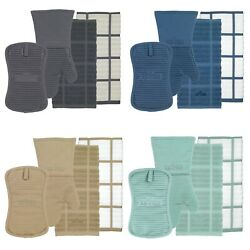 All Clad Silicone Heavy Cotton Washable Oven Mitt Pot Holder Kitchen Towel Set