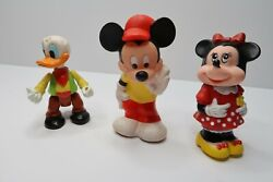 Vintage 1980s Mickey Minnie And Donald Mixed Figure Lot Walt Disney Collectibles