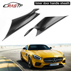 For Bmw 3 Series F30 F35 2pcs Inner Door Handle Inside Cover Protect Case Carbon