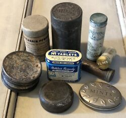 Lot Of Vintage Tin Saccharin Powder, Laxative, Tums, Chicken Bouillon Cubes,etc