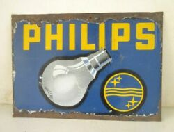 Vintage Philips Brand Bulb Advertisement Porcelain Enamel Sign Board Collectible