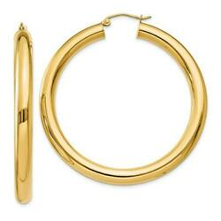 14k Yellow Gold Round Hoop Earrings Classic Shiny Polished 2mm Tube