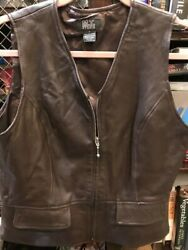 Zip Front Chocolate Brown Leather Vest By M.t Morgan Taylor Studio 6 Small