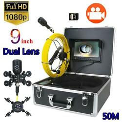 9 Inch Dvr Pipe Inspection Video Camera Dual Len Drain Sewer Pipeline Endoscope