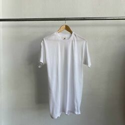 80and039s Blank White Tee - Medium Long Deadstock Clean Hipster Punk Greaser 90and039s 70