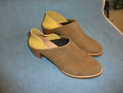 ALL BLACK Brand $150 Designer Low Ankle Booties Shoes BEIGE YELLOW Leather Suede $59.99