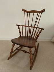 S Bent And Bros Co. Rocking Knitting Chair Bowback Windsor Maple Wood rare Vintage