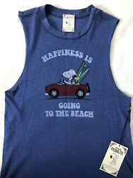 NEW Vintage Peanuts t shirt NWT Daydreamer Snoopy Happiness is Going Beach Large $22.50