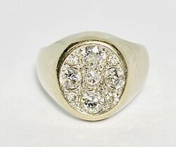 Gg Certified 14k White Gold 1.43ctw Old Mine Cut Diamond Cluster Ring Size 7 9g