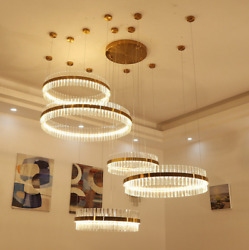 Dimmable LED crystal lamp chandelier modern hall duplex big living room light