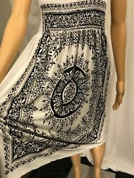 CM Sundress White and Black Floral Pattern One Size Fits All (Blemished) $5.00