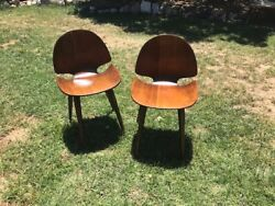 Pair Plycraft Bent Plywood Midcentury Chairs Cherner / Ames / Mulhauser/ Nelson