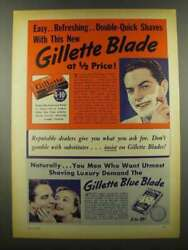 1939 Gillette Thin Blades And Blue Blades Ad - Easy