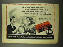 1940 Gillette Thin Blades Ad - A Shaving Treat In Store