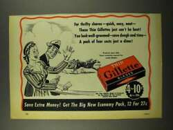1941 Gillette Thin Blades Ad - For Thrifty Shaves