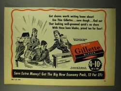 1942 Gillette Thin Blades Ad - Worth Writing Home About