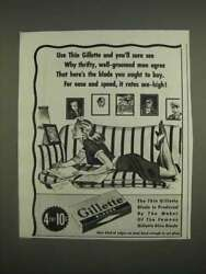 1944 Gillette Razor Blades Ad - Use Thin Gillette And You'll Sure See