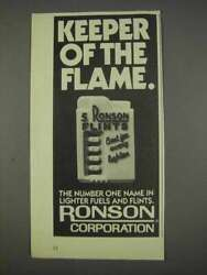 1982 Ronson Flints Ad - Keeper Of The Flame