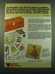 1988 Vermont American Tools Ad - It's The Quality Of Our Work That Keeps Us In