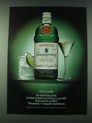 1989 Tanqueray Gin Ad - Own A Bottle It's Worth The Price To Have At Least One