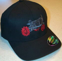 Farmall Regular Tractor Black Flex Fit Embroidered Solid Hat 2 Sizes