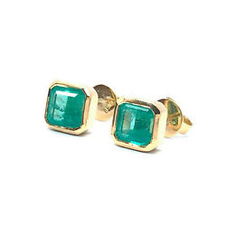 3.34tcw Square Natural Colombian Emerald Solitaire Bezel Studs 18k Screw Back
