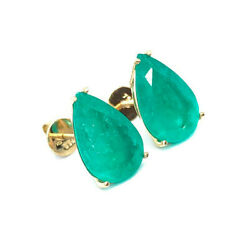 10.64tcw Pear Shape Natural Colombian Emerald Solitaire Studs 18k Gold Screwback