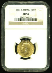 Gr. Britain 1913 Gold Coin Gv Sovereign Ngc Certified Genuine Au 58 Scarce