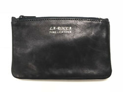 LaRocca Black Leather Lightweight Zip Top Pipe Tobacco Daily Tobacco Pouch $11.95
