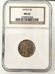Rare- 1919- U.s. Buffalo Head Nickel Graded And Slabbed By Ngc In Mint State 64