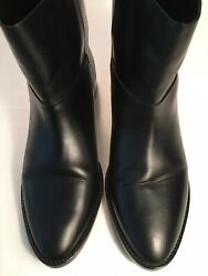 Designer Theyskens'Theory Black Ladies Ankle Flat Boot Size10 Made In Italy $160.00