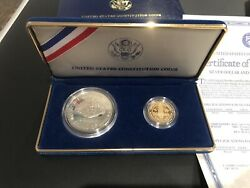 1987 Us Constitution Silver Dollar And Gold Five Dollar Coins