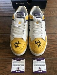 Lakers Magic Johnson Signed Converse Weapon Ox Shoes Gold White Purple Beckett