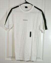 NWT MEN#x27;S OAKLEY WHITE ELLIPSE TAPE SHORT SLEEVE T SHIRT CUSTOM FIT SZ M L $20.40