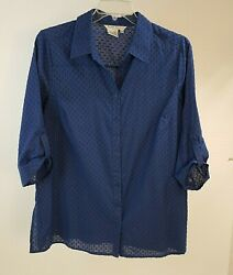 Fred David 1X 34 sleeve Roll Tab Button Up Blouse Textured Fabric Side Slits $13.95