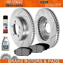 For 09-13 Dodge Journey Vw Routan Front Drill Slot Brake Rotors And Ceramic Pads