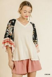 Umgee Floral Print Ruffle Bell Sleeve Waffle Knit Top Size S