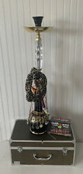 Bohemia Hookah Set With Case Dark Glass And Gold Rare Nice